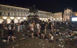 Piazza San Carlo a Torino dopo gli incidenti del 3 giugno 2017