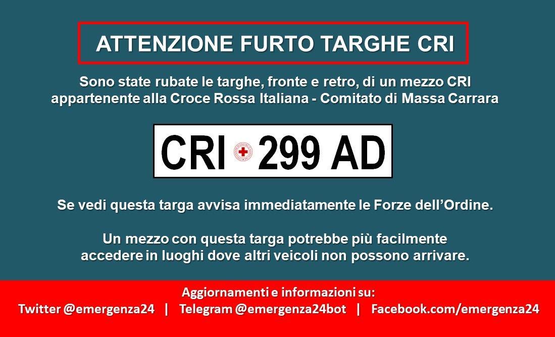 L'annuncio del furto della targa della Cri che era stato diramato sul web a cura di @Emergenza24