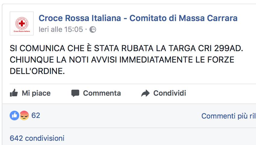 Il post su Facebook della Cri di Massa Carrara