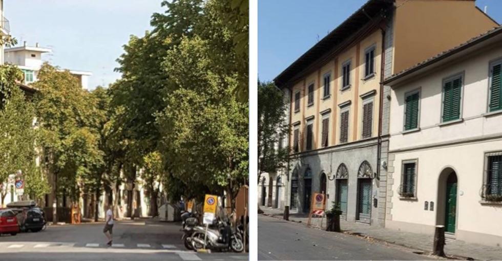Un tratto di viale Corsica prima e dopo il taglio degli alberi (da Facebook)