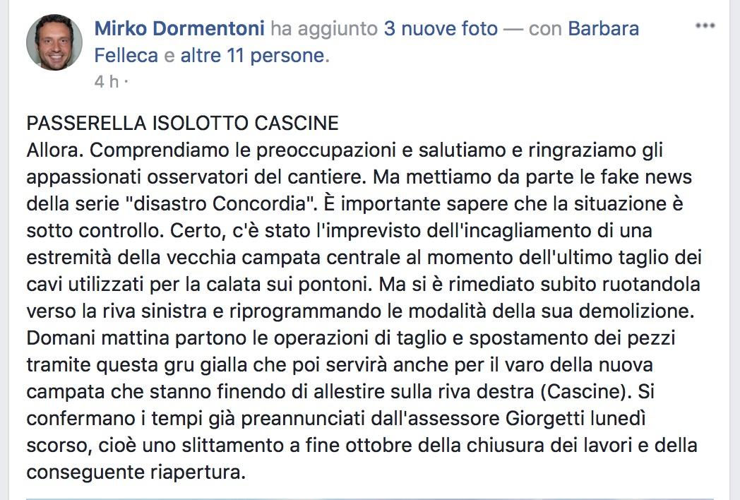 il post su Facebook di Mirko Dormentoni, presidente del Quartiere 4