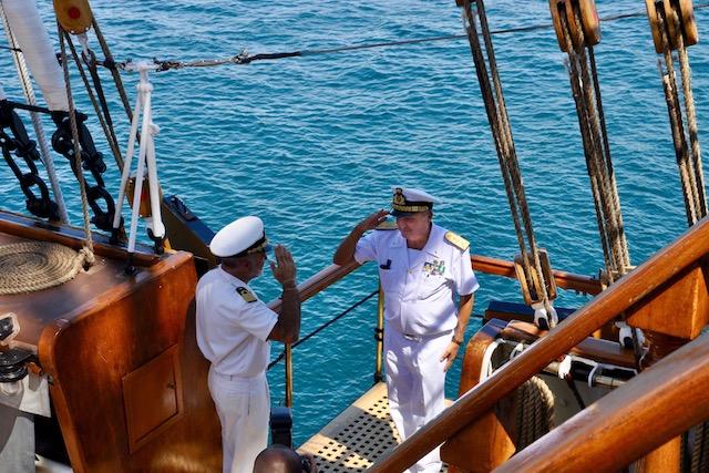Visita a bordo dell'ammiraglio Marzano, comandante in capo della Squadra navale