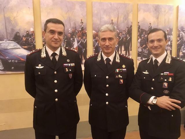 Il colonnello Giuseppe De Liso (al centro) comandante provinciale di Firenze, con il ten. col. Rosciano e il ten. col. Spoto (a destra)