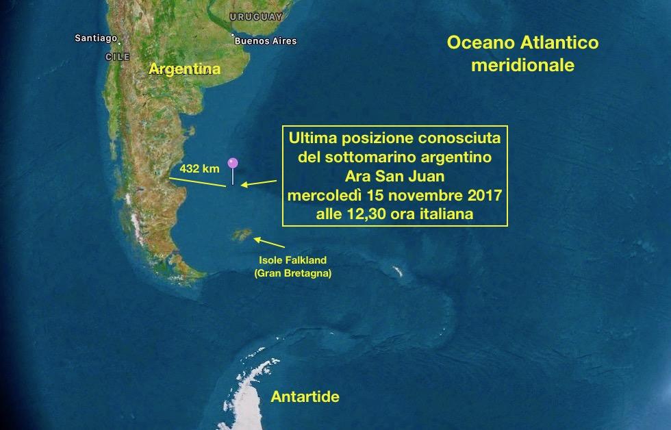 La zona dove il sottomarino è disperso
