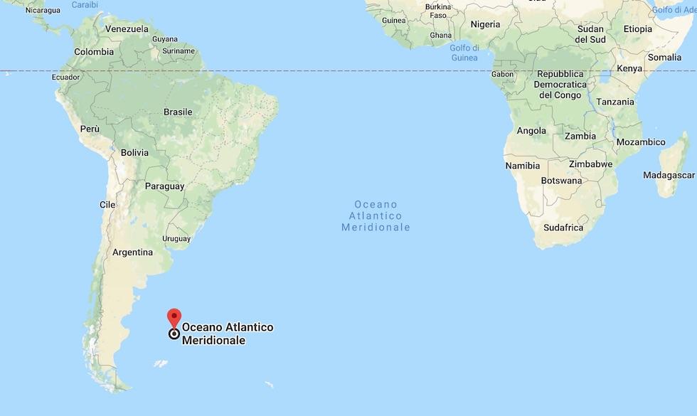 La zona dove stava navigando il Crllù