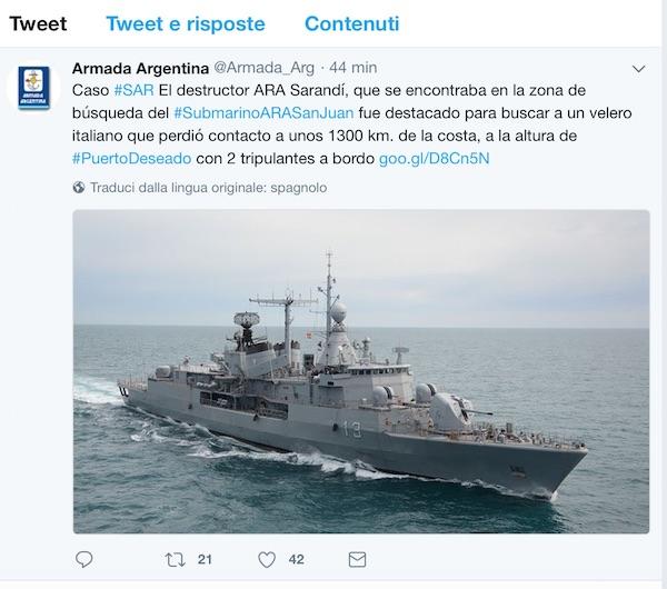 Il tweet della Marina Argentina
