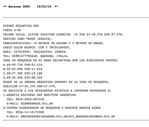 L'avviso nautico dell'Idrografico argentino
