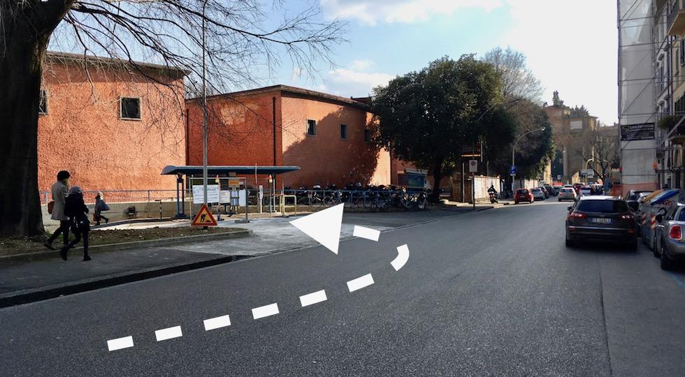 Il nuovo ingresso al parcheggio del Parterre da via del Ponte Rosso