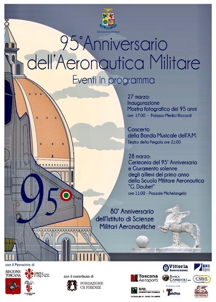 Il manifesto affisso nelle strade di Firenze per il 95° anniversario dell' Aeronautica Militare