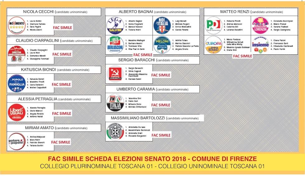 La scheda gialla per il Senato nel comune di FIrenze