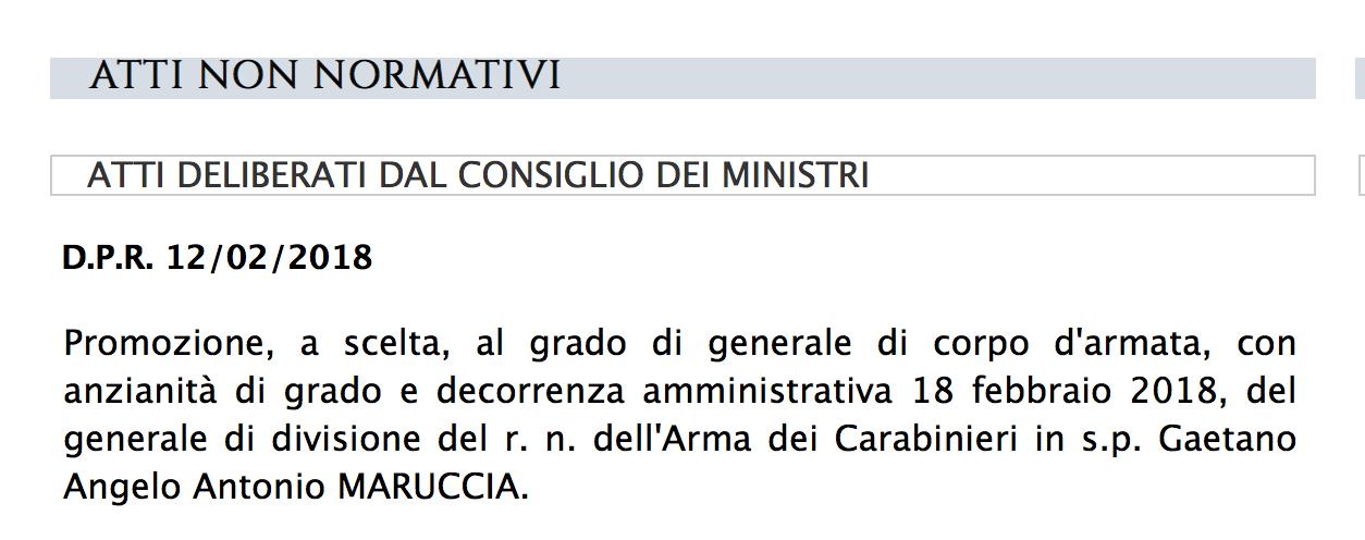 Sul sito del Quirinale il Dpr della promozione del generale Maruccia