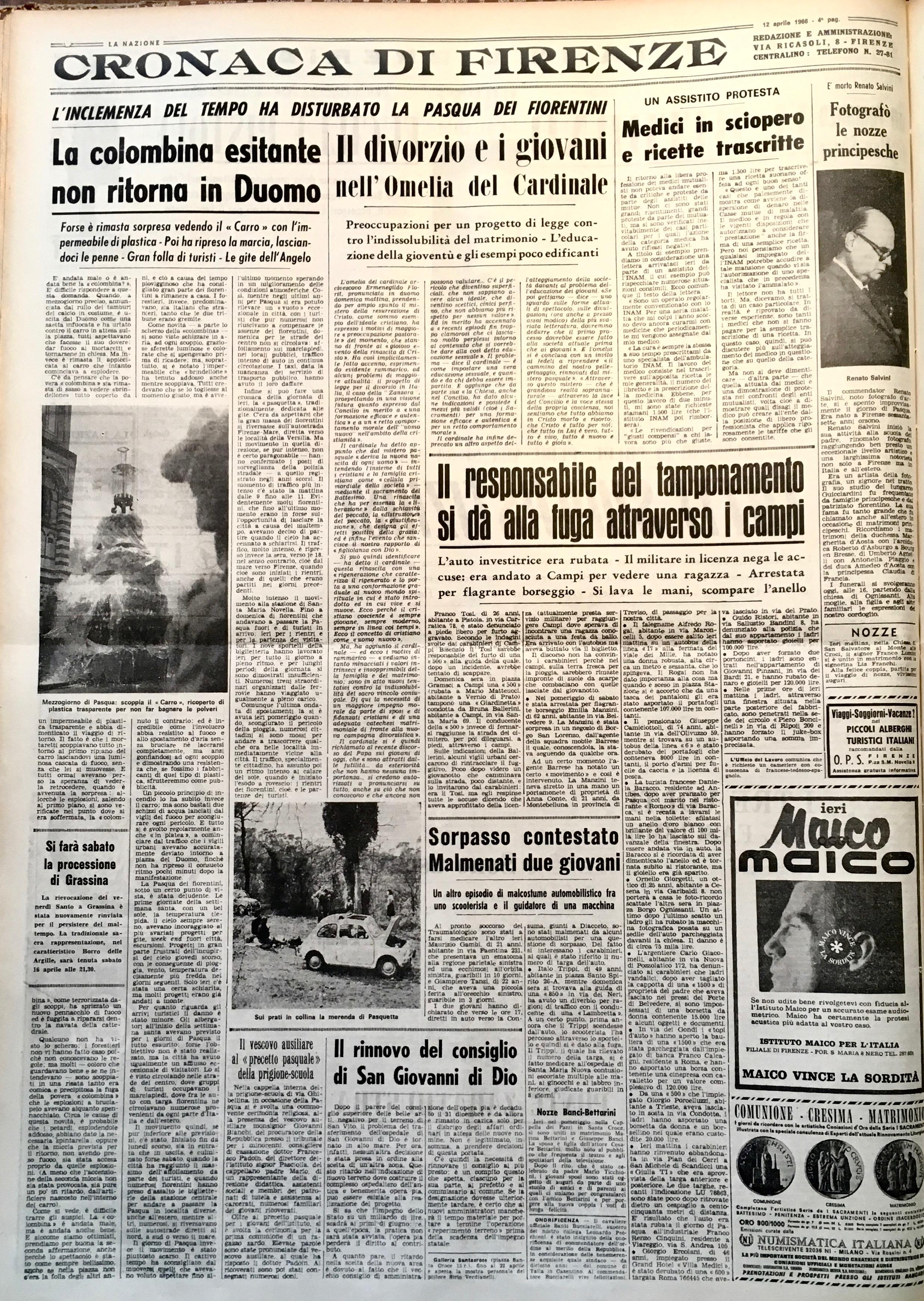'La Nazione' del 12 aprile 1966 con la cronaca dello Scoppio del Carro