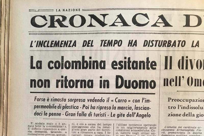 Il titolo dell'articolo de La Nazione sulla Pasqua 1966
