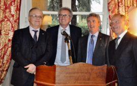 da sin il nuovo console onorario Stefano Cacciaguerra Ranghieri, il ministro Pierre Gramegna, l'ambasciatore Paul Dühr, il console uscente Francesco Olivieri