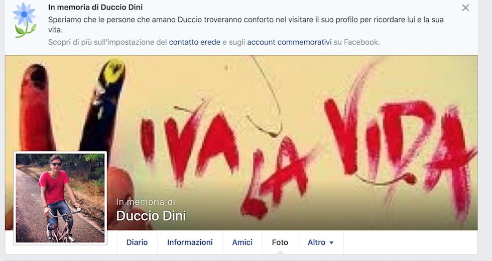 La bacheca Facebook di Duccio Dini è piena di commenti commossi dei suoi amici