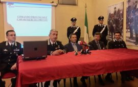 La conferenza stampa dei Carabinieri dopo gli arresti del 4 luglio. Da sin. Ten. col. Rosciano, col. De Liso, procuratore capo Creazzo, pm Coletta, capitano Testa