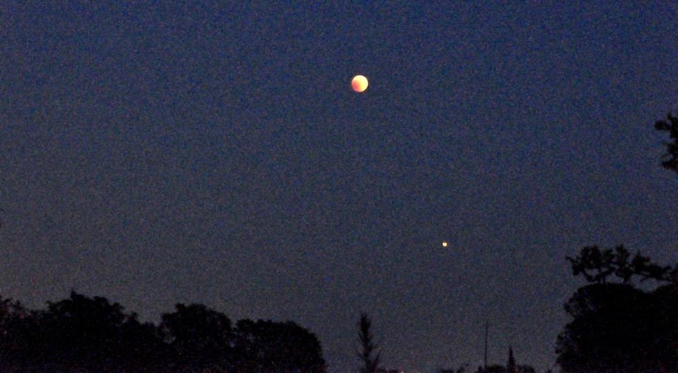 La Luna e Marte durante la notte dell'eclissi del 27 luglio 2018 (dal prato Osservatorio Beppe Forti)