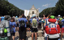 L'arrivo a Santa Maria degli Angeli dei partecipanti alla Marcia Francescana 2018