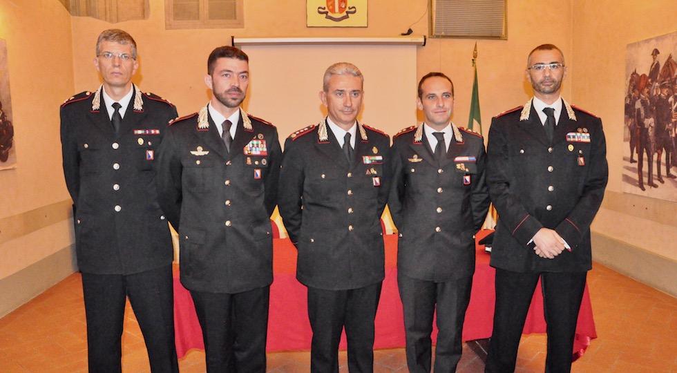 I nuovi ufficiali con il comandante provinciale di Firenze, colonnello Giuseppe De Liso