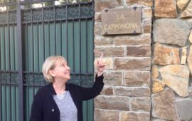 Judy Ann D'Annunzio al cancello di Villa La Capponcina a Firenze