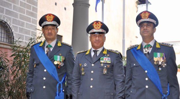 da sin. i generali Sebastiano Galdino, Giorgio Toschi ed Edoardo Valente