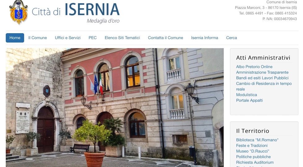 L'home page del sito ufficiale del Comune di Isernia