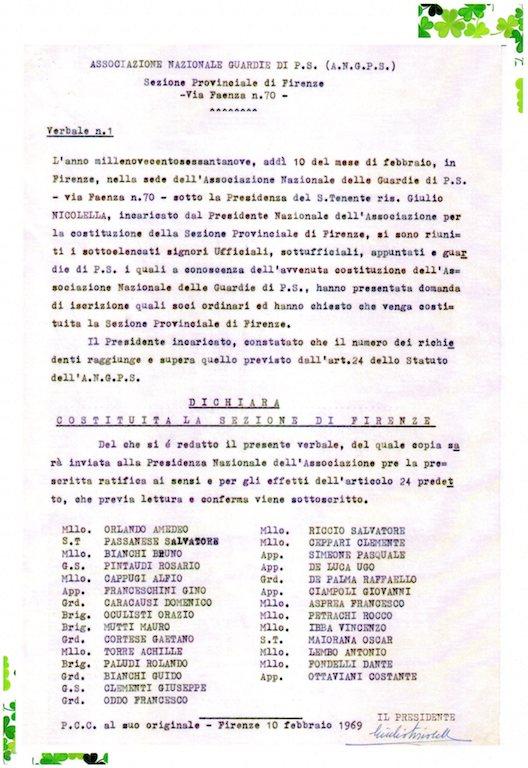 La costituzione della sezione Anps di Firenze nel 1969