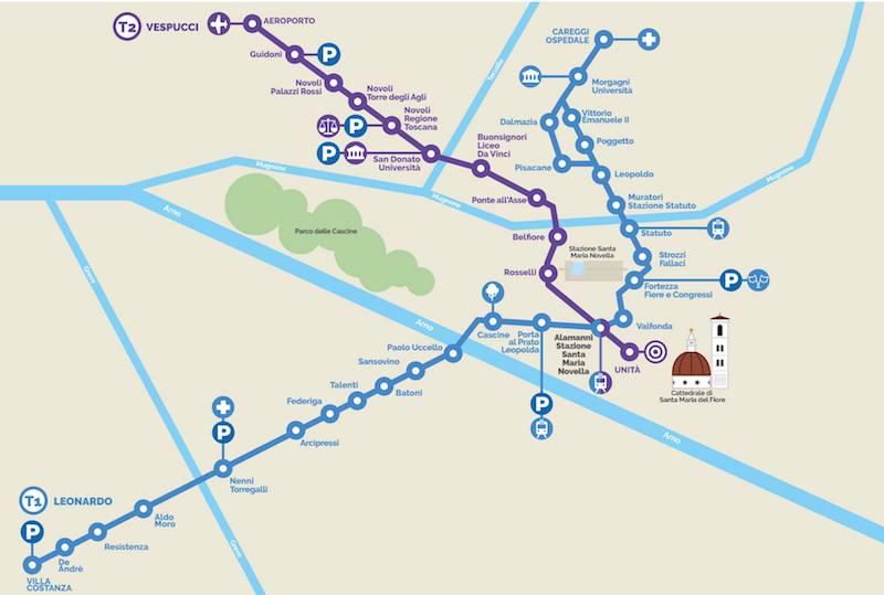 La mappa delle 2 linee di tramvia a Firenze