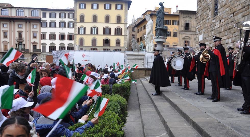 La fanfara dei Carabinieri a Palazzo Vecchio per la festa della Bandiera