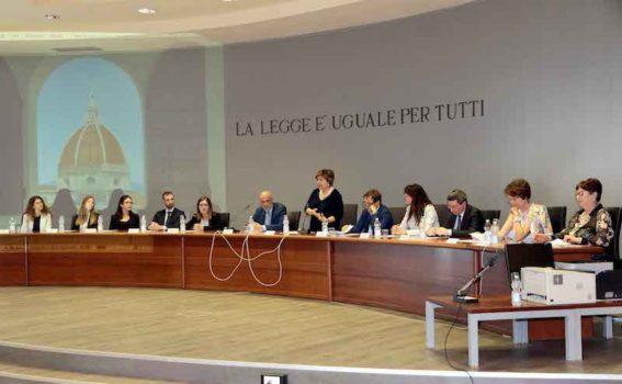 Aula 31 del Palagiustizia durante l'intervento della Presidente della Corte d'Appello Margherita Cassano