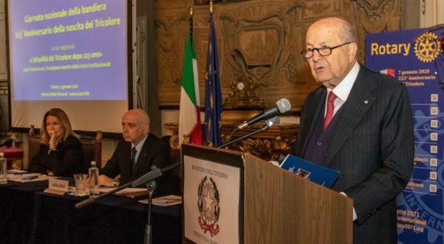 Paolo Grossi, presidente emerito della Corte Costituzionale, alla cerimonia per l'anniversario del Tricolore 2020 in prefettura a Firenze
