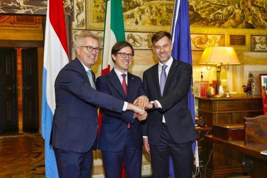 Pierre Gramegna (da sin), Dario Nardella e Franz Fayot