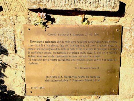 Il ricordo della visita a Cortona di San Giovanni Paolo II