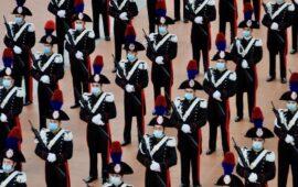 Allievi marescialli carabinieri del 9° corso durante la cerimonia del giuramento 2020