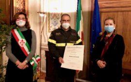 Da sin. Vice sindaco Alessia Bettini, Ispettore Roberto Casini, Prefetto Laura Lega