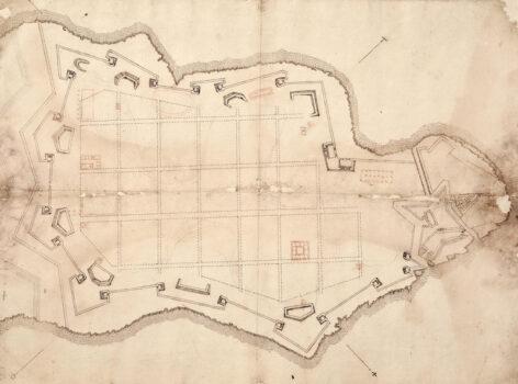 Uno dei disegni originali di Francesco Laparelli per la costruzione di La Valletta